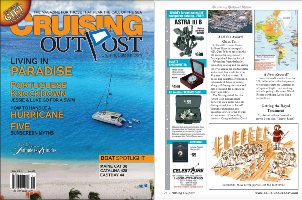 Winter edition of Cruising Outpost Magazine with Focus on the Journey cartoon by Joana Miranda