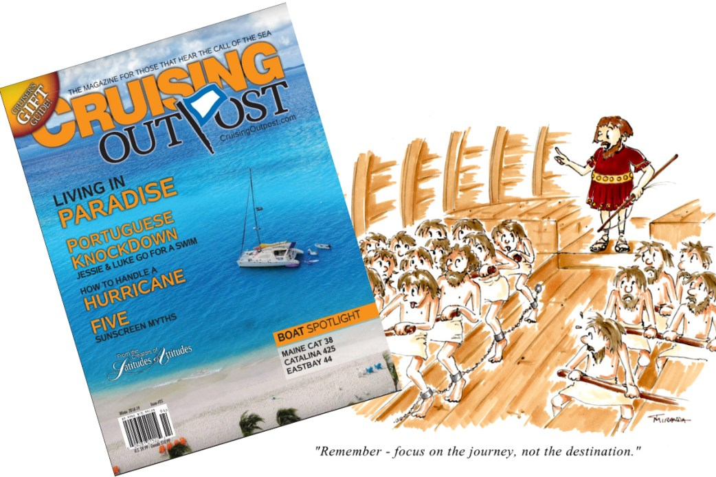 Published Work - Focus on the Journey - Cartoon for Cruising Outpost Magazine by Joana Miranda