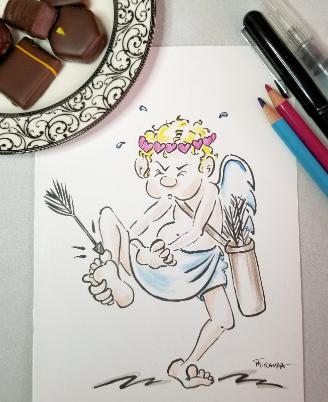Cupid On Point Cartoon Illustration by Joana Miranda