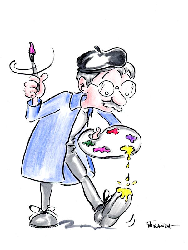 Happy Accidents Artist cartoon by Joana Miranda