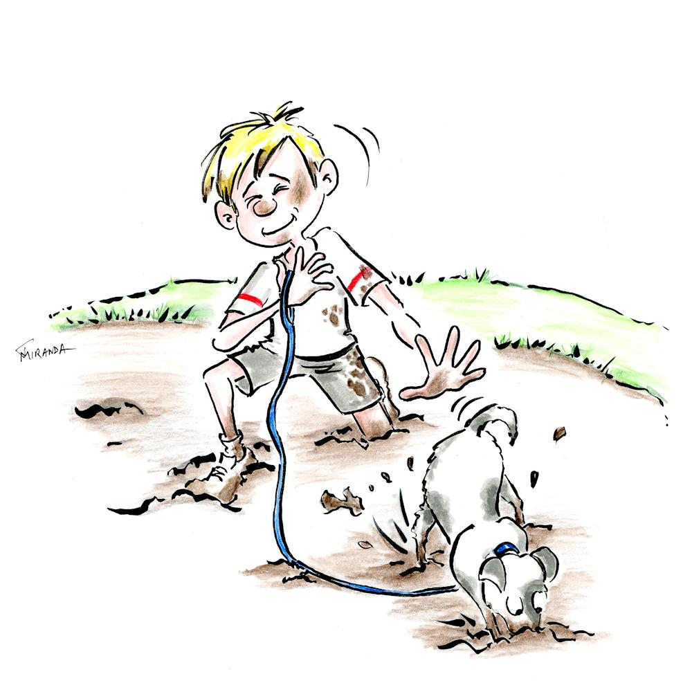 Funny cartoon illustration depicting a muddy day by Joana Miranda