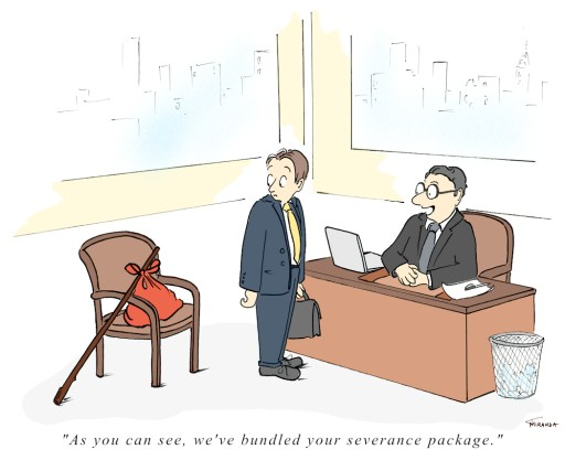 Bundled Severance Package business cartoon by Joana Miranda