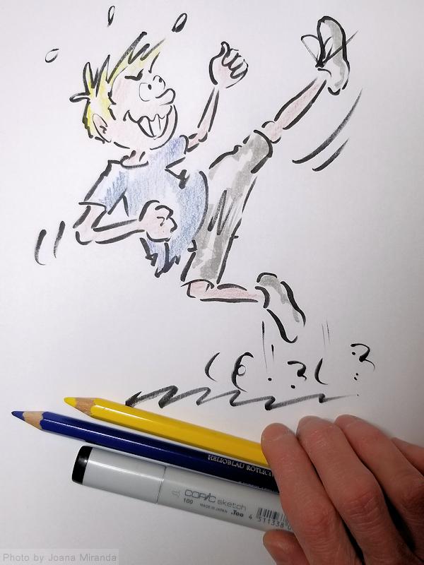Kapow! Boy Cartoon done with my new favorite cartoon pen, by Joana Miranda