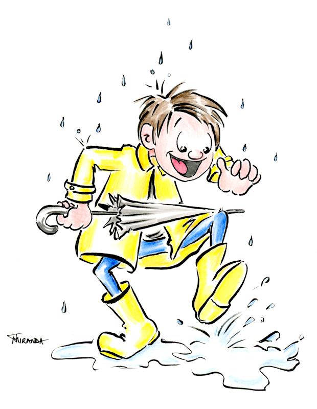 Little boy in yellow slicker character illustration by Joana Miranda