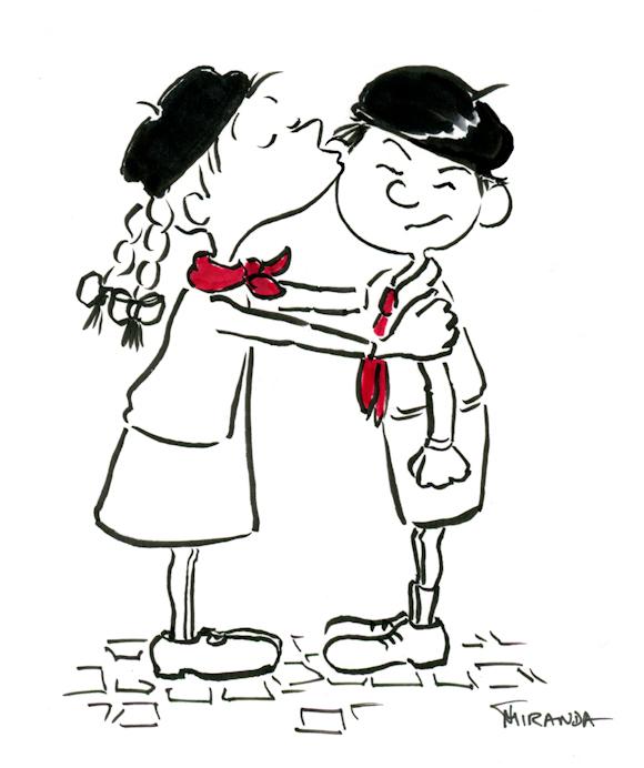 The Kiss children's cartoon illustration by Joana Miranda