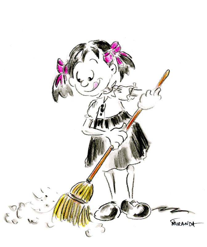 Cute colored pencil cartoon illustration of girl with a broom, by Joana Miranda