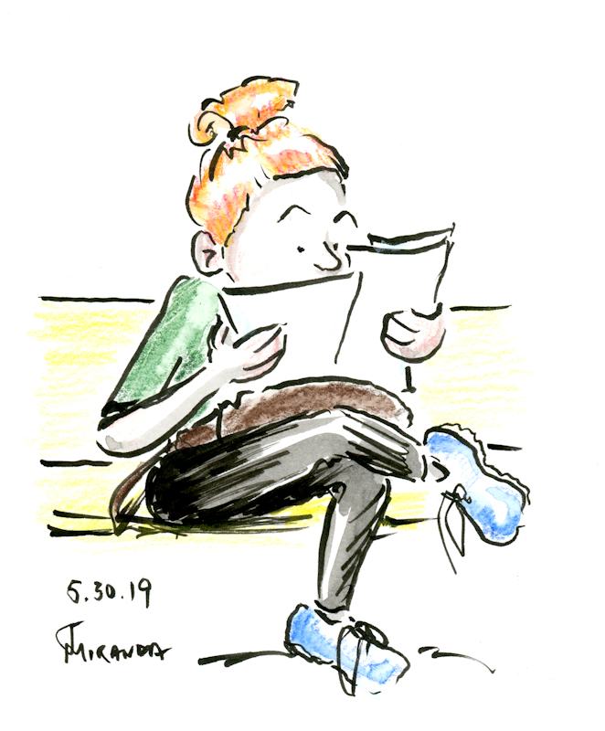 Cartoon-illustration-sketch-of-woman-looking-at-papers-by-Joana-Miranda