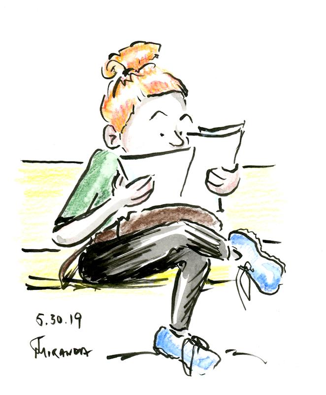 Cartoon-illustration-sketch-of-woman-looking-at-papers-by-Joana-Miranda