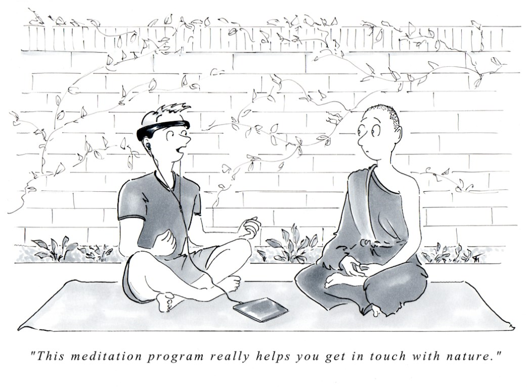 Meditation cartoons - The Birds in My Head - Funny Cartoon Art by Joana Miranda Studio