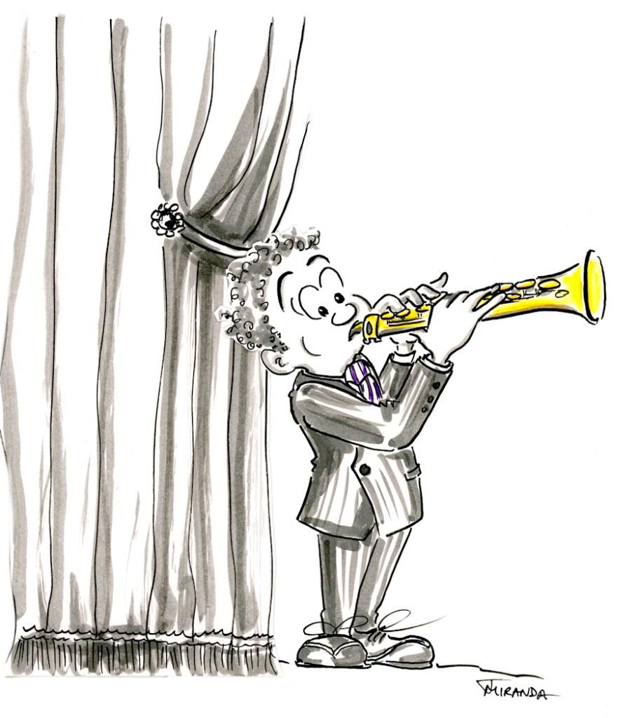 Cartoon Paper Dolls Soprano Sax Player by Joana Miranda