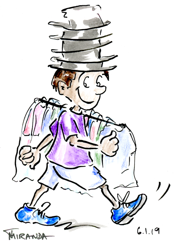 Funny Cartoon Sketches - Delivery boy with rack of dry cleaning on his shoulder, by Joana Miranda