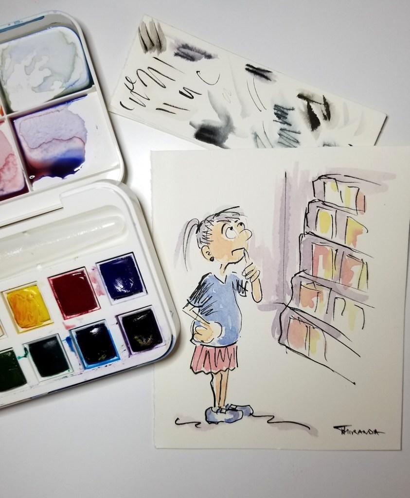 Cartoon watercolor painting experiment by Joana Miranda