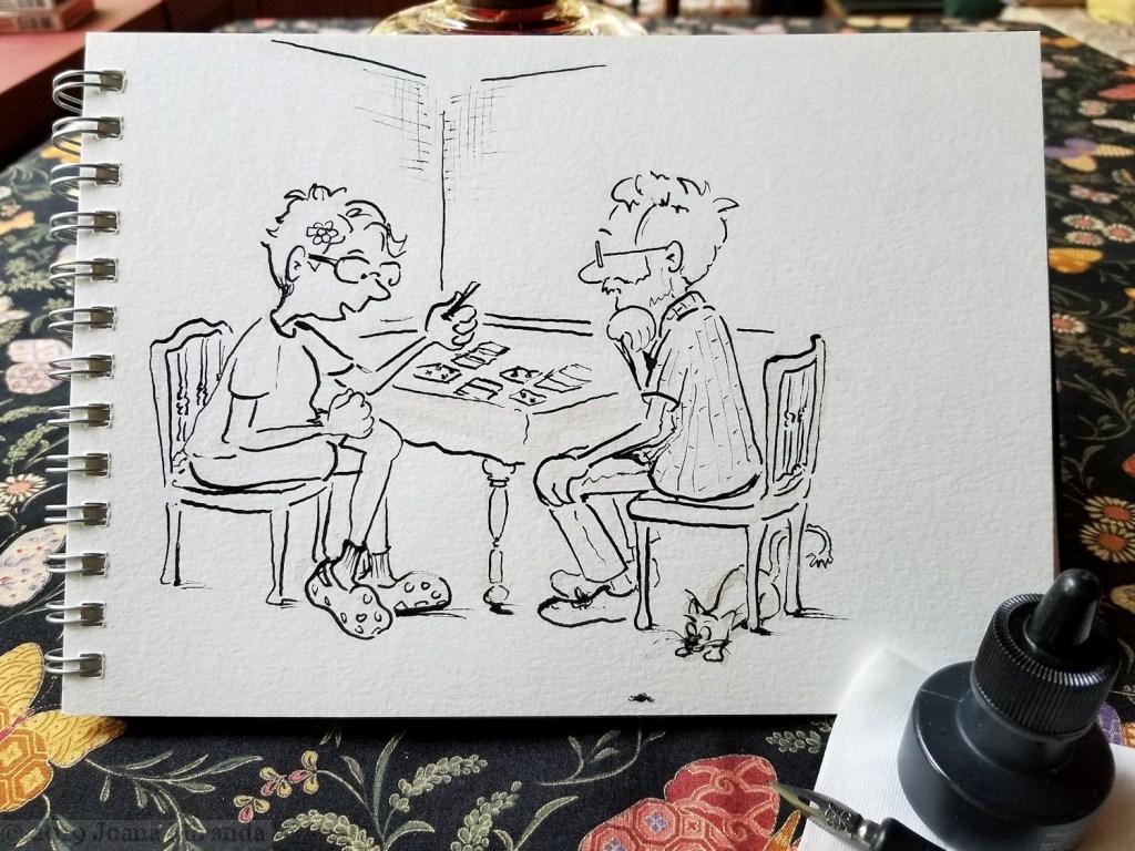 India ink cartoon drawing in my watercolor sketchbook