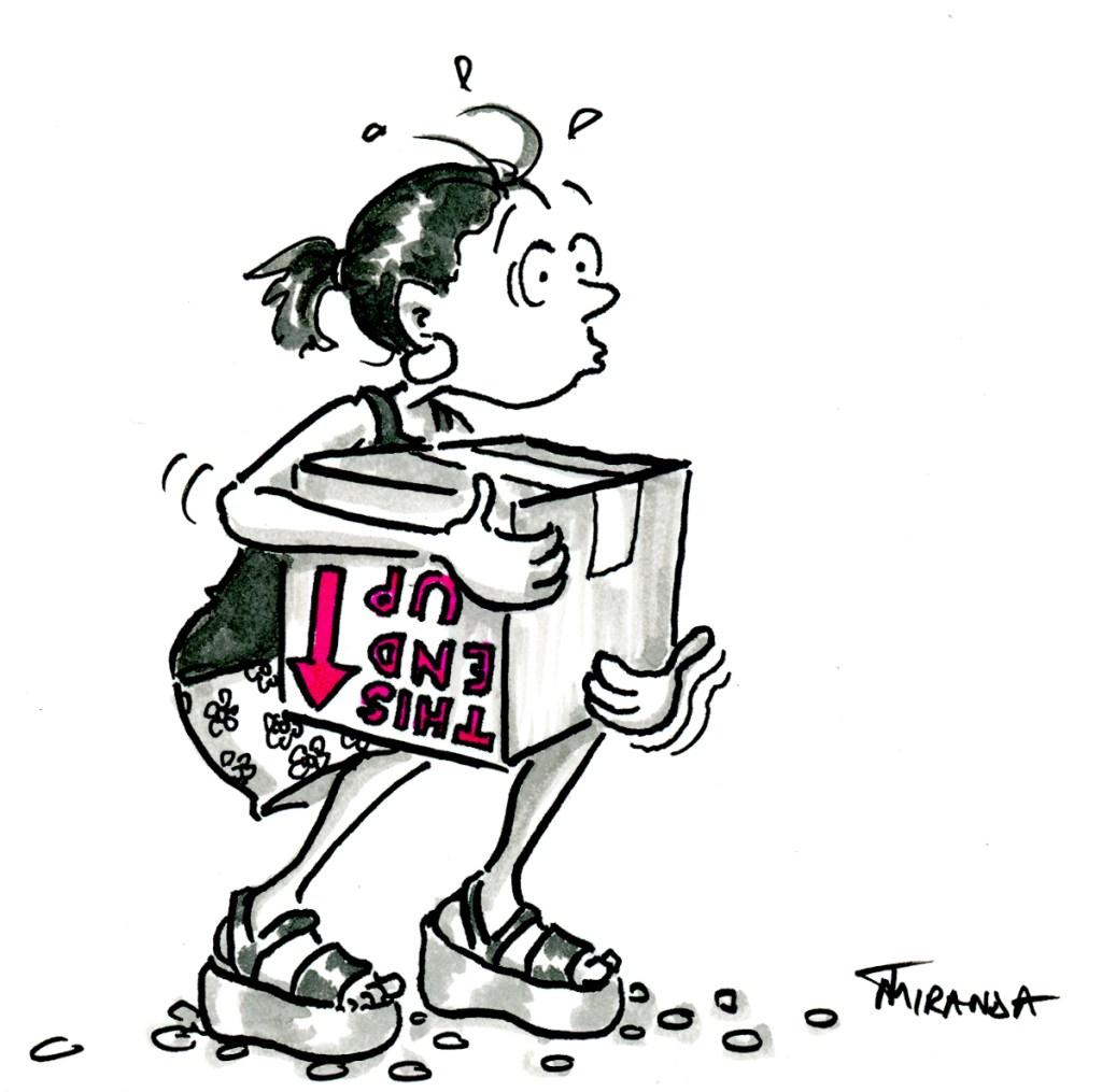 What to wear on moving day.  Cartoon by Joana Miranda