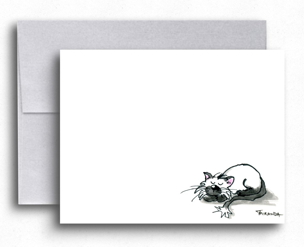 Cat Art - Sleeping Cat Note Card by Joana Miranda Studio at Etsy