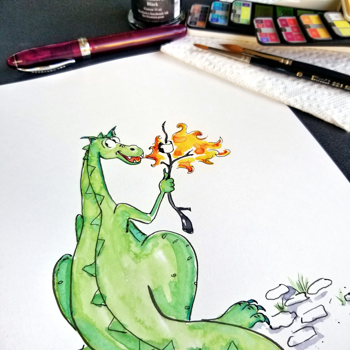 JMSC-179 S'Mores photo of original illustration by Joana Miranda - Detail1