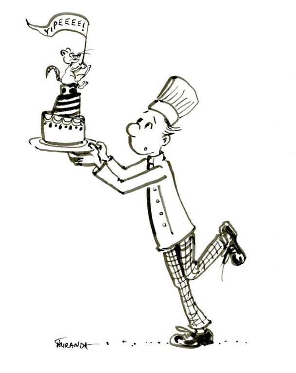 Little chef with cake and mouse - free hand ink cartoon by Joana Miranda
