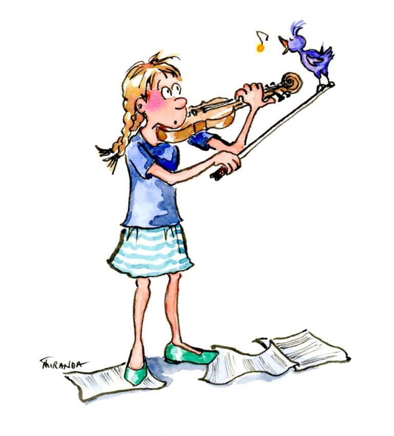 Little girl playing the violin and feeling blue ecard illustration by Joana MIranda