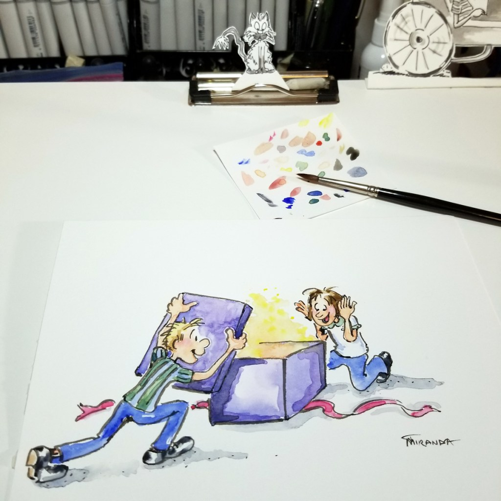 Surprise illustration in process for ecard shop - one of 8 fun freebie ecards now available at Joana Miranda Studio