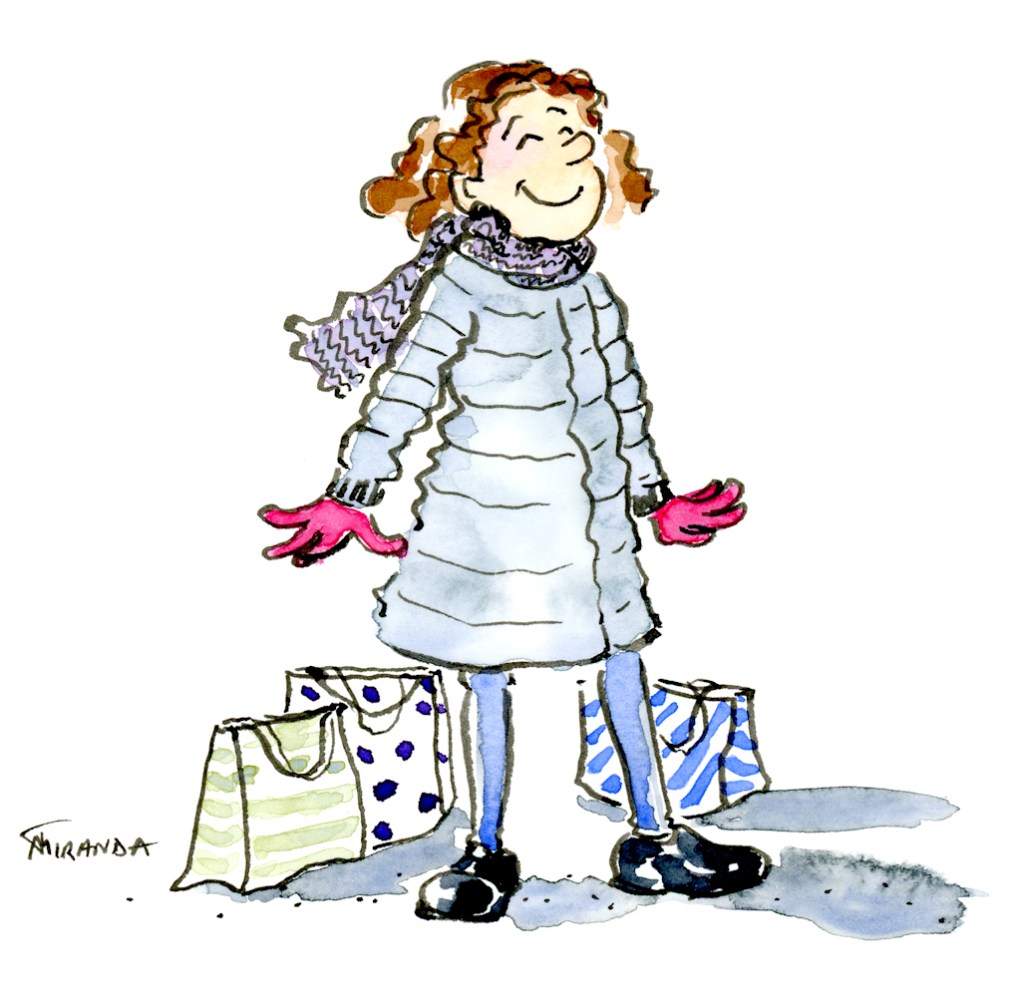 Whimsical ink and watercolor happy girl in winter coat illustration by Joana Miranda
