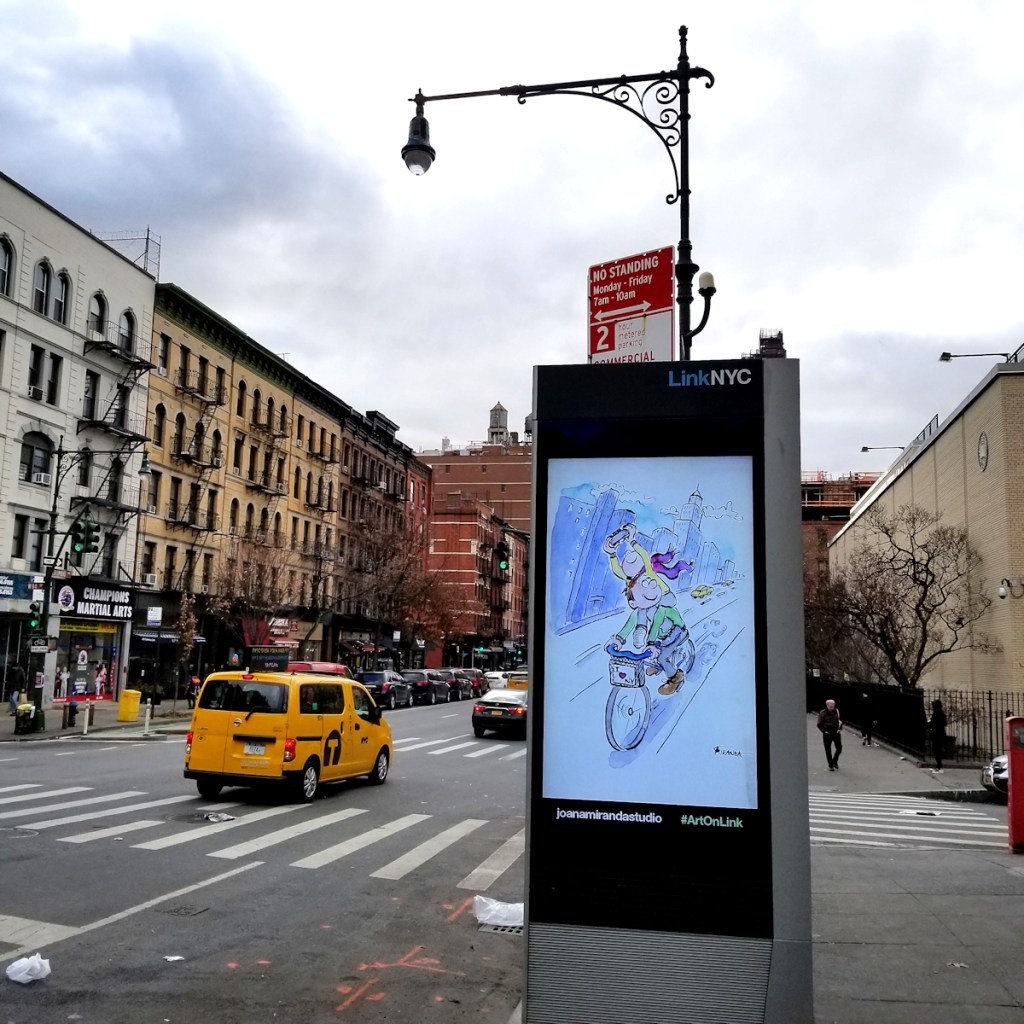Photo of I Love NY cartoon illustration by Joana Miranda Studio -  As seen on LinkNYC kiosk on Amsterdam Ave in December