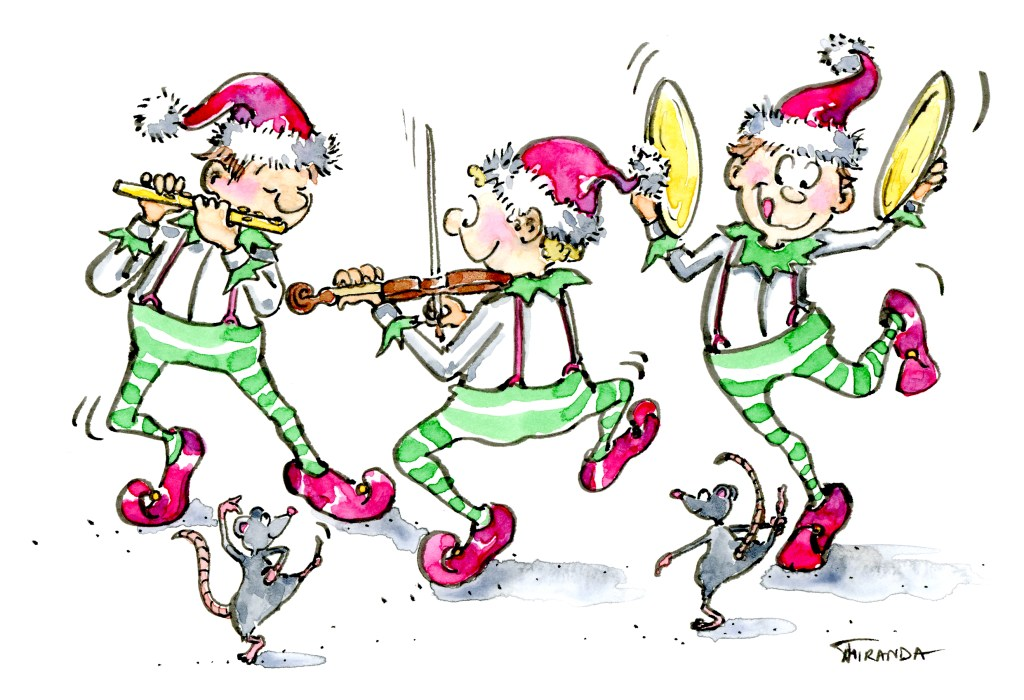 Three musical dancing elves illustration by Joana Miranda