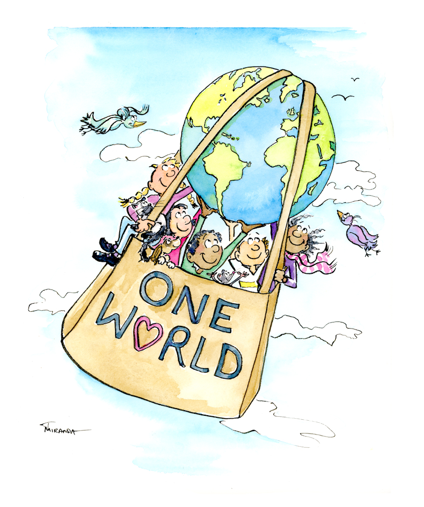 Whimsical eco One World illustration by Joana Miranda
