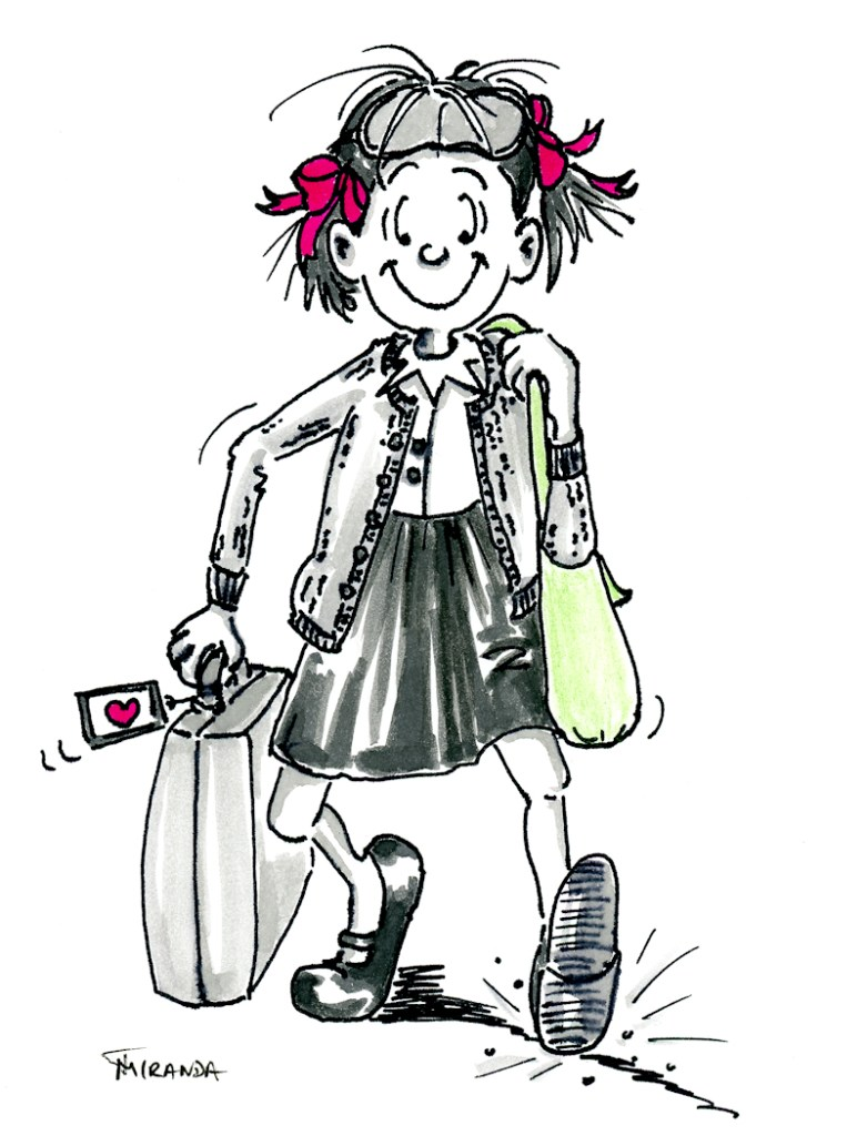 Ink and marker character illustration of young girl with suitcase by Joana Miranda