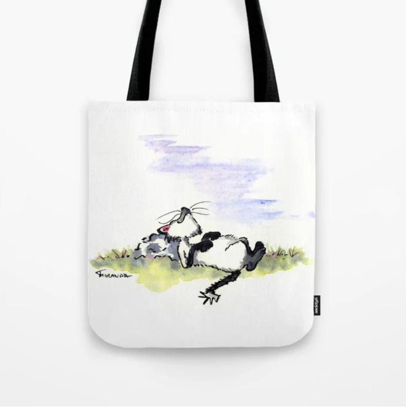 Whimsical cat art tote bag - Afternoon Siesta - by Joana Miranda at Society6