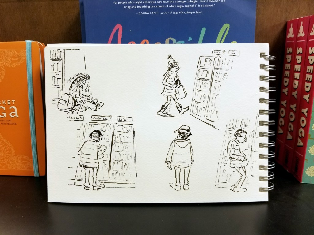Ink free hand cartoon sketches of people at Barnes and Noble bookstore