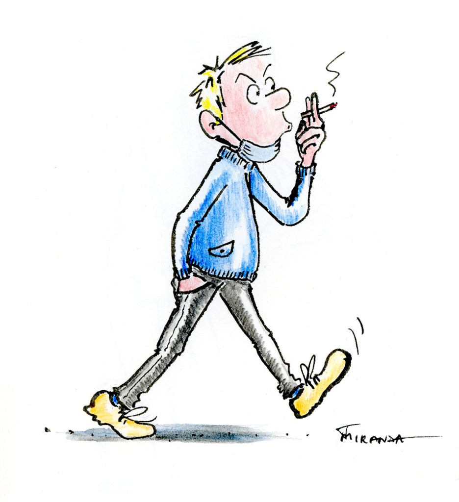 Ink and watercolor pencil cartoon illustration of man smoking a cigarette, by Joana Miranda