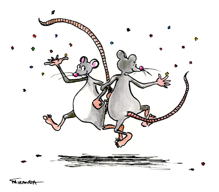 Dancing Mice ecard illustration by Joana Miranda
