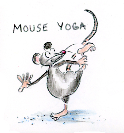 Funny mouse doing yoga cartoon sketch by Joana Miranda