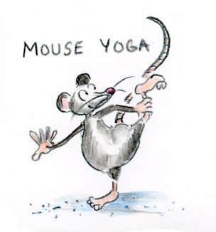 Mouse yoga cartoon illustration by Joana Miranda