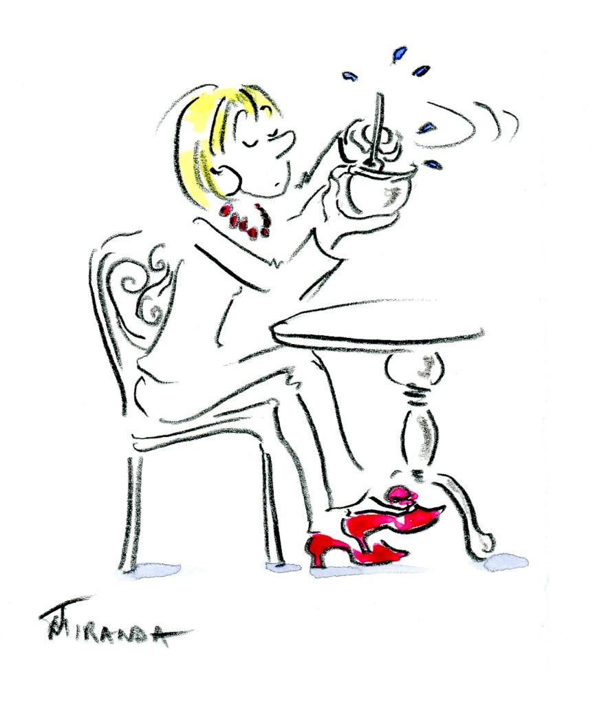 Free hand drawing - At the Cafe by Joana Miranda