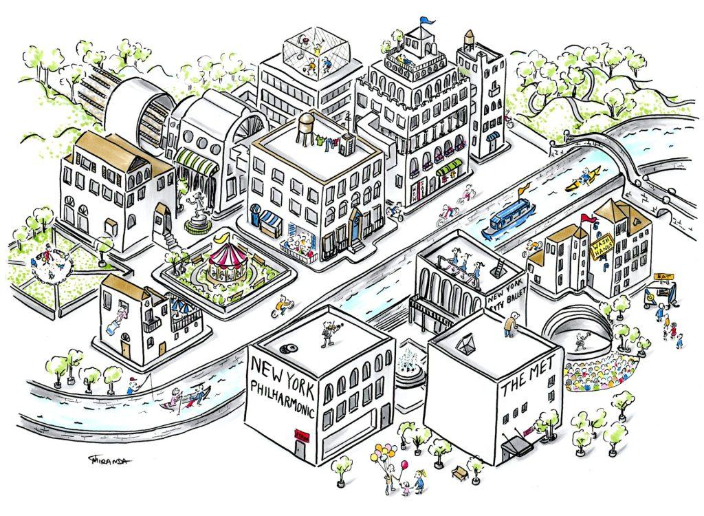 Isometric perspective art - Imaginary City - by Joana Miranda