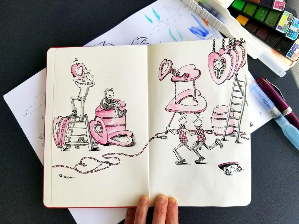 Photo of my Love Delivered doodle illustration from my Moleskine sketchbook - New Doodle Art Prints