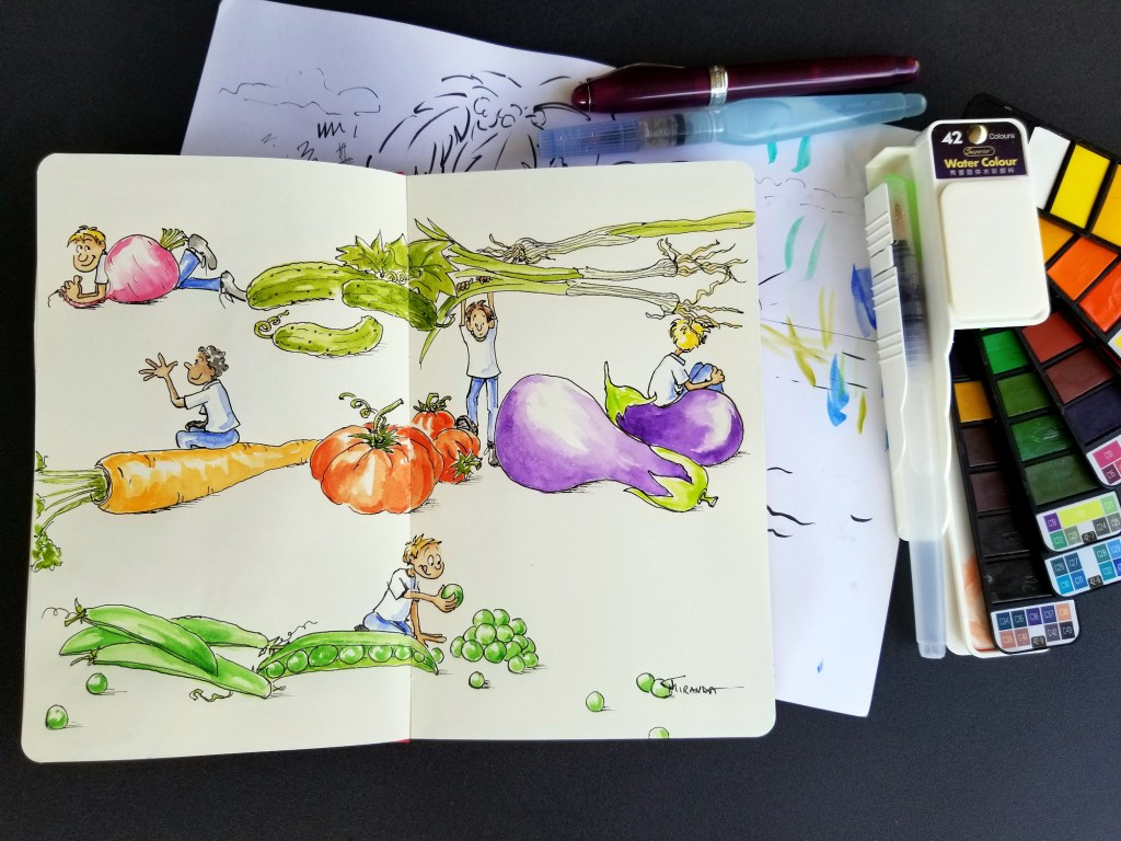 Eat Your Veggies Moleskine doodle sketch by Joana Miranda