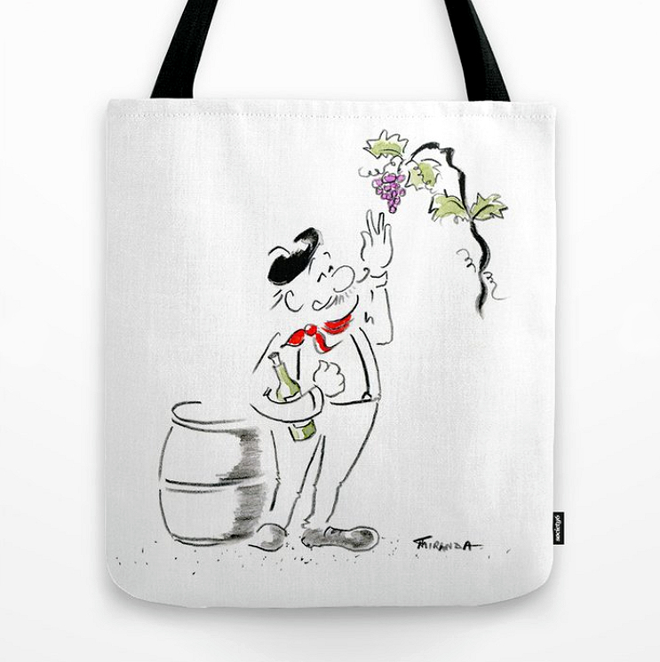 Sante tote bag by Joana Miranda Studio.  Part of the line of products featuring this cheery wine art in my shop at Society6.