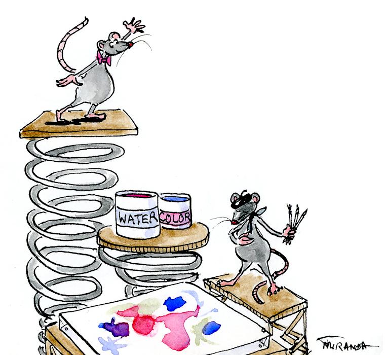 Ta-Da - Funny Artistic Mice illustration by Joana Miranda
