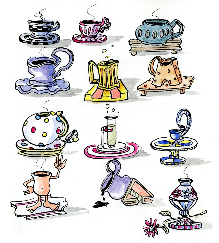 Teacup doodles - Ink and Watercolor illustration by Joana Miranda