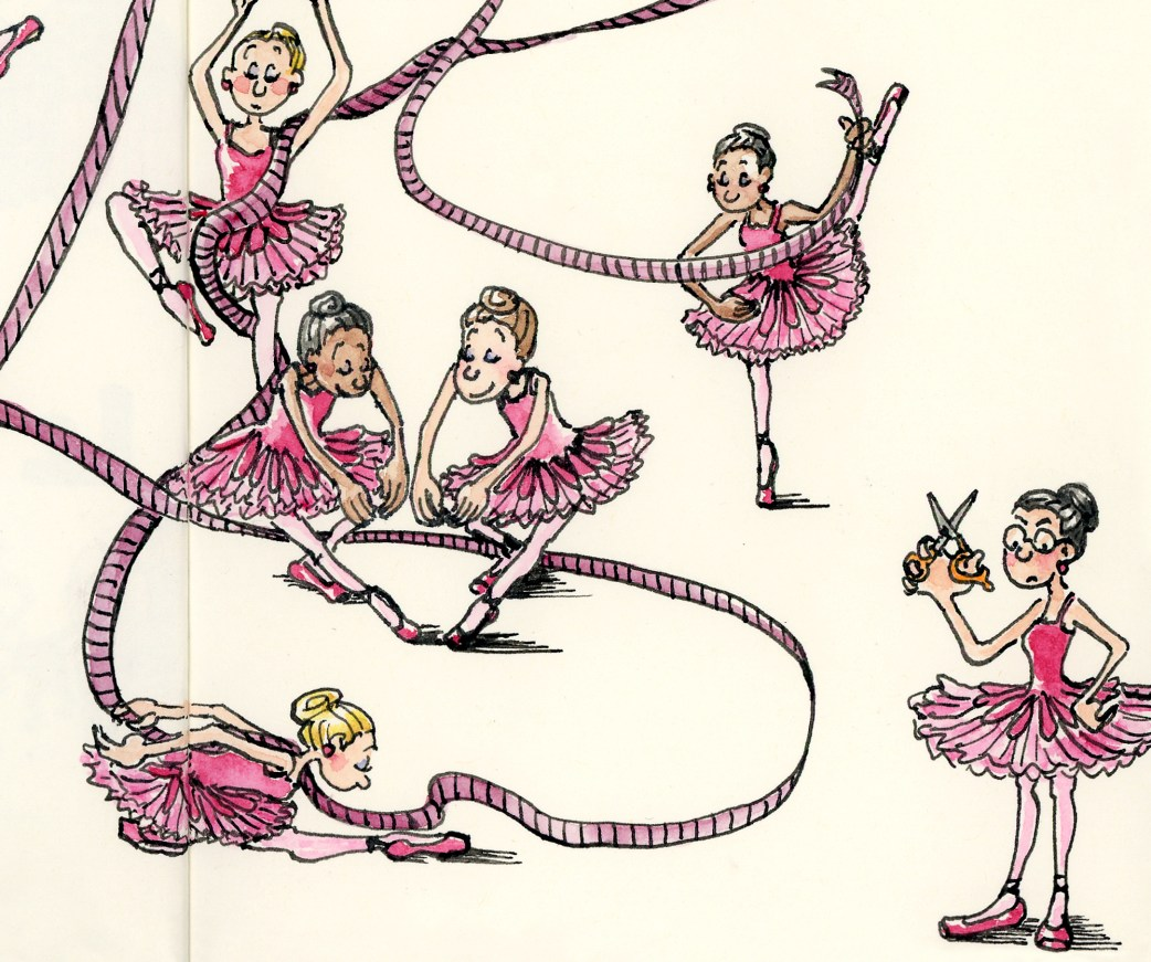 Detail from ballerina wall art print by Joana Miranda