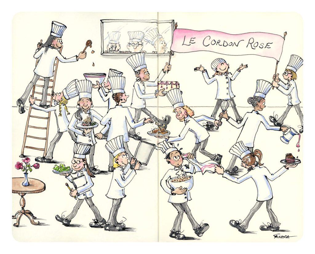 Funny Chef Art - Le Cordon Rose by Joana Miranda