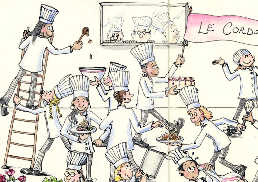 Detail from Le Cordon Rose chef art by Joana Miranda