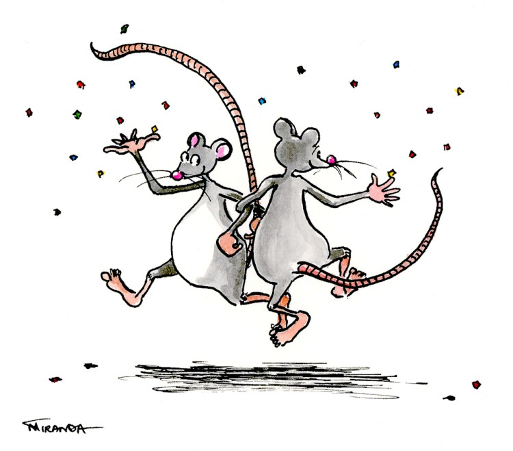 Dancing mice illustration by Joana Miranda - Now available as a free ecard.