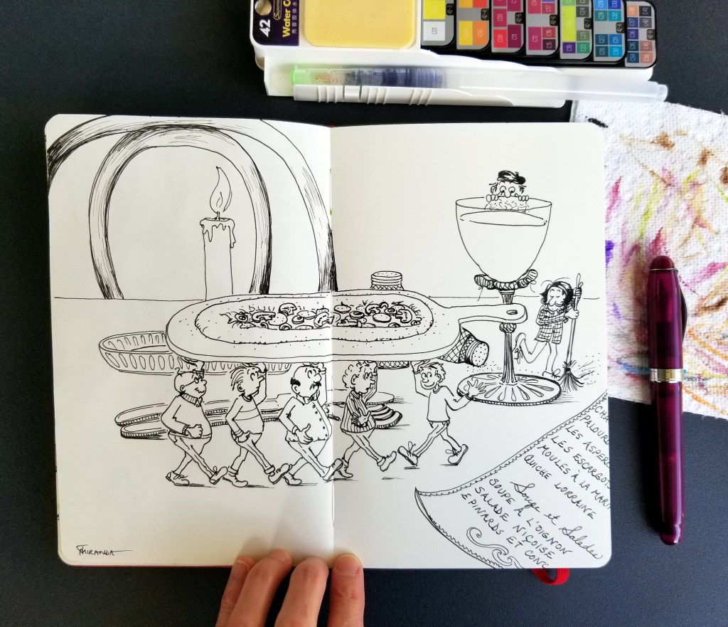 Bon Appetit Pizza Art inked sketch in my Moleskine Art Notebook