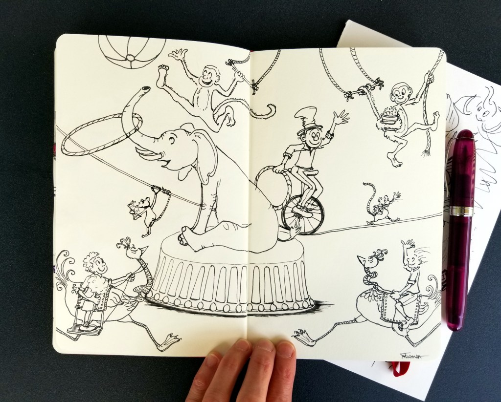 Circus art completed drawing in my Moleskine art sketchbook by Joana Miranda