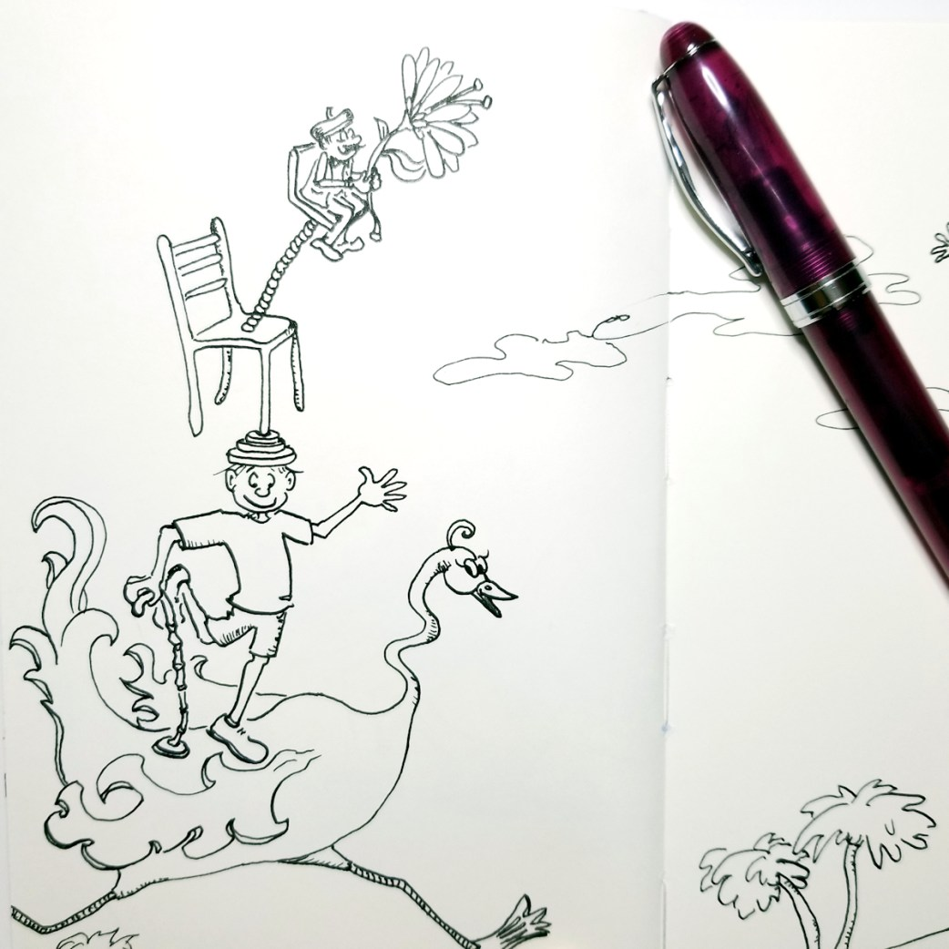 New whimsical fountain pen illustration by Joana Miranda