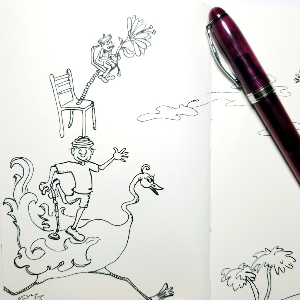 Freehand ink drawing demo - A Wacky Wonderful World by Joana Miranda