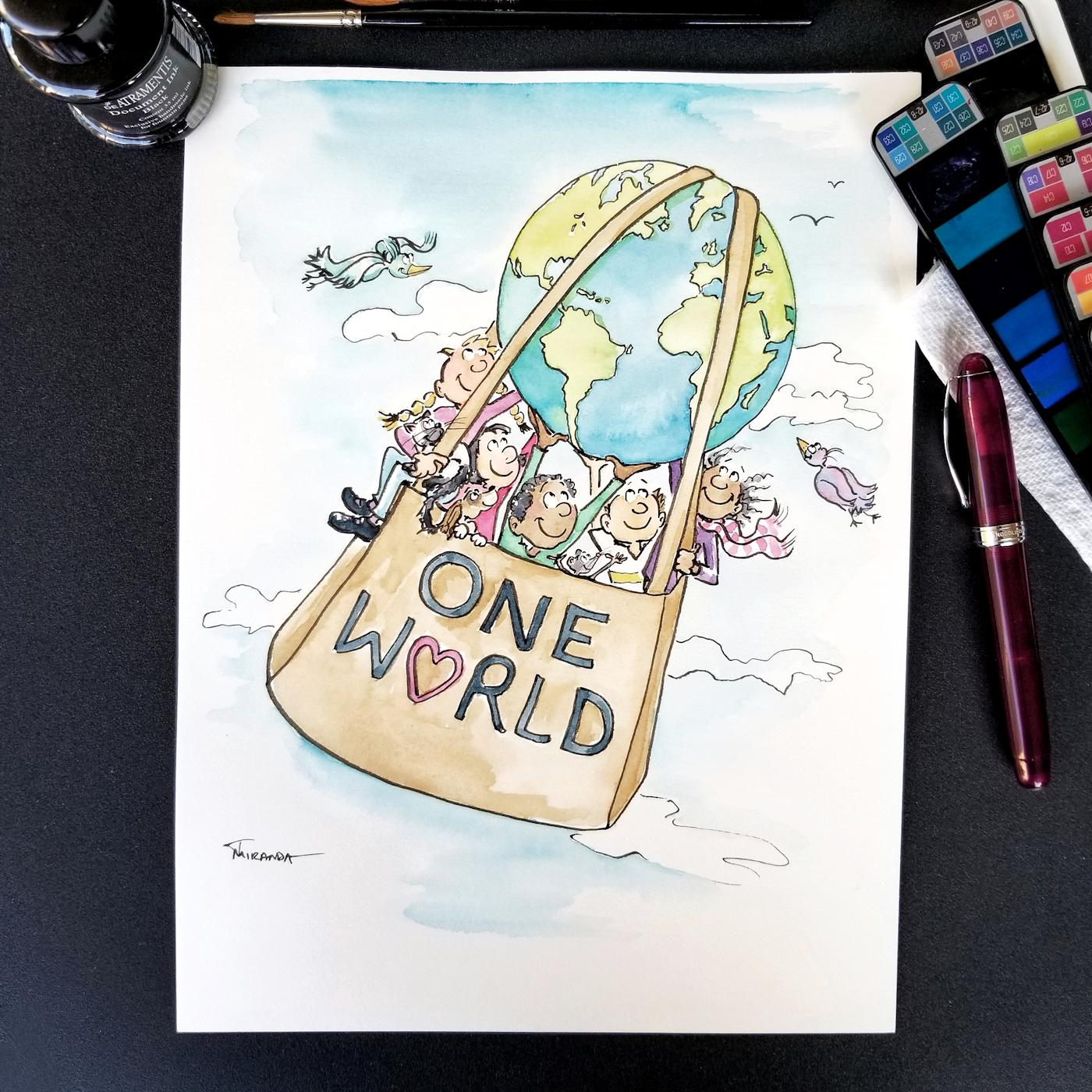 JMSC-215 One World photo of original illustration by Joana Miranda